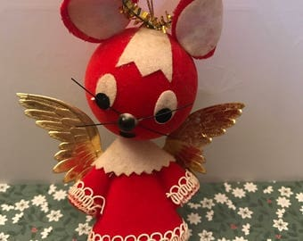 Vintage Christmas angel mouse ornament, Midcentury Christmas, Kitschmas, Christmas mouse, Made in Japan christmas ornaments
