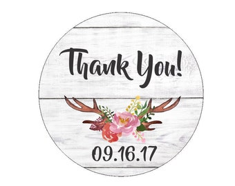 Thank You Favor Stickers Favour Wedding Date Labels Tags Wedding Bridal Shower Baby Shower Floral Antlers Flower Branch Flowers Watercolor