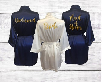 Bridesmaid Robes Bridal Party Satin Robes Bride Wedding Party Robe Navy Ivory Gold Glitter Custom Personalized Gift Monogrammed Initials
