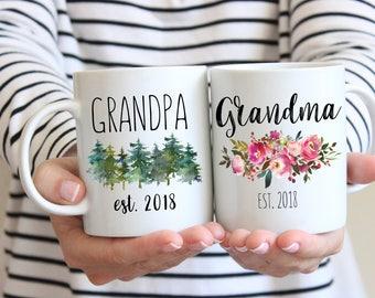 Grandparents Mug, Pregnancy Reveal, Grandma Grandpa Mug Set, Pregnancy Announcement Grandparents, New Grandparents Gift, Custom Mugs, Future