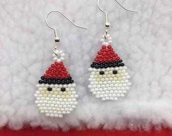 Santa Earrings, Christmas Earrings, Winter Earrings, Santa, Christmas, Winter, Holidays, Beads, Handmade, Gift