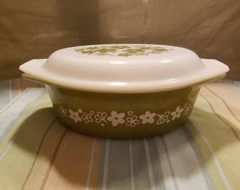 "Vintage 1970's Pyrex ""Spring Blossom"" 1.5 quart Casserole baking Dish with Lid  #043"