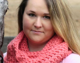 Crochet Infinity Scarf - Coral - Ready to ship!