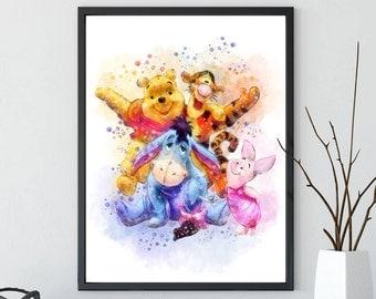 Winnie pooh print, winnie the pooh, winnie the pooh art, winnie pooh, winnie pooh poster, winnie pooh nursery, disney art, Eeyore, Tigger