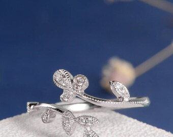 Unique Diamond Ring Twig Ring Cluster Flower Open Adjustable Inspired Art Deco White Gold Ring Diamond Band Beaded Anniversary Leaf Ring