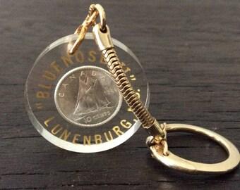 1966 Canadian Silver Coin / 800 Silver / Keychain / Bluenose / Nova Scotia / Sterling Silver / Lunenburg / Canada Souvenir