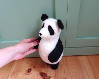 Panda Music Box Panda bear toy needle felted soft toy musical toy baby gift