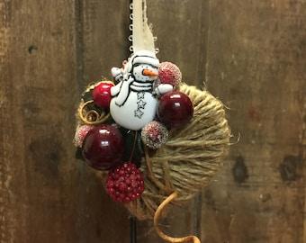 Small Twine Heart Ornament, Christmas Ornament, Tree Ornament