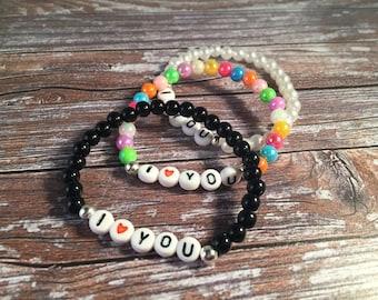 I LOVE YOU Bracelet - Love Bracelet - Acrylic Bead Bracelet - Gift For Her - Valentines Jewellery