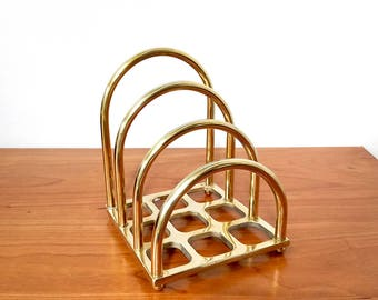 Vintage Brass Mail Sorter / Brass Stationery Divider / Letter Holder Desk Accessories