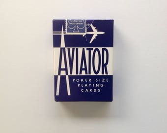 Vintage Unopened Aviator Playing Cards - Blue Deck - Sealed
