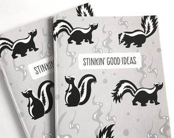 Notebook Journal - Woodland notebook - Woodland Animals - Lined notebook - Cute journal -Stationery - Writing Journal -Skunk -Funny Notebook