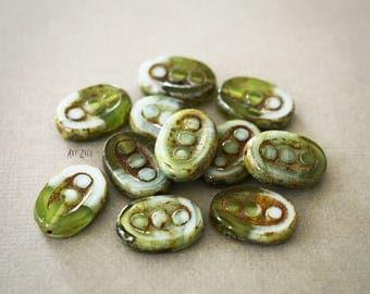 13x17mm, 4 Czech glass beads, flat, oval, engraved, green, bronze, blue, rustic beads, ethnic, nomadic, bohemian, mix