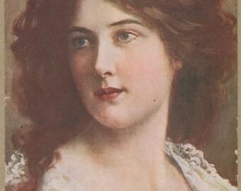 Edwardian Beauty Portrait | Salon De Paris | French Postcard | Unbound Chestnut Hair | Autumn Colors | Plump Lips | Beaux-Arts | 1900's