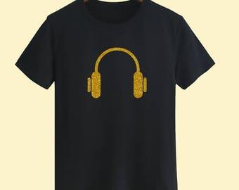 Golden Headphone Unisex T shirt T Shirts For Men T Shirts For Women T Shirt For Youth Street T-shirts Hipster T Shirt Customize Gift T Shirt