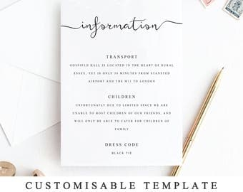 Printable Wedding Details Template, Wedding Insert Cards, Elegant Details Card, DIY Wedding Detail Card Template, Wedding Information Card
