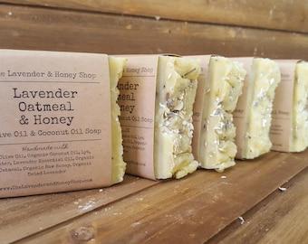 Lavender Oatmeal Honey Handmade Olive Oil and Coconut Oil Soap 4.5 oz bar