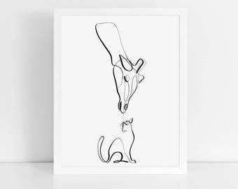Giraffe and Cat Art Print, One Line Drawing, Minimal Art, Wall Prints, Nursery Animal Art, Calligraphy, Single Line, Black and White