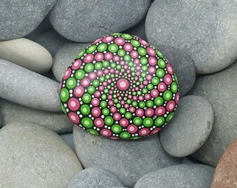 Green & Pink Mandala Stone - Painted Rock - Painted Stone - Meditation Mandala Rock - Dot Art - Chakra - Paperweight