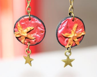 Stars in red and gold earrings