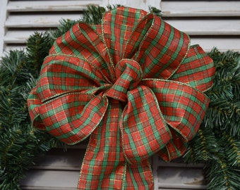 Plaid Holiday Bow, Christmas Plaid Bow, Christmas Bow, Wreath Bow, Basket Bow, Gift Bow, Lantern Bow, Lamp Post Bow, Mailbox Bow, Swag Bow