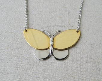 Avon Butterfly Necklace, Vintage Necklace, Avon Jewelry, Silver Gold, Chain Necklace, Spring Wedding, Nature Jewelry, Bug Insect Jewelry