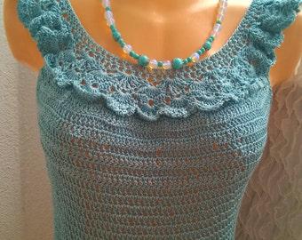 Crochet blouse, Blue cotton blouse, romantic blouse, crochet lace top, Edwardian Top, Floral Women tunic, short sleeve tunic