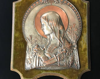 Nickel Plated Religious Plaque