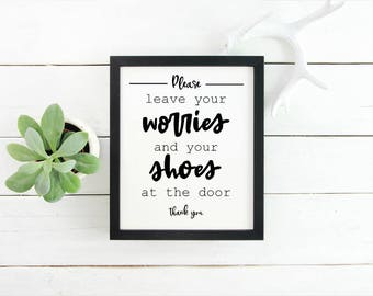 Leave your shoes at the door farmhouse wooden sign, framed canvas