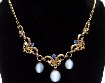 Art Nouveau Necklace Blue Moonstone Rhinestones Collar Choker