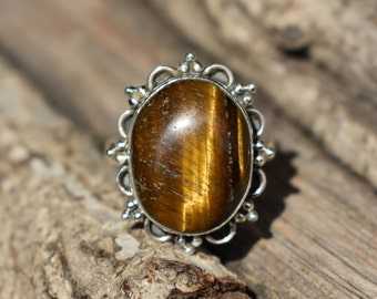 size-8us tiger eye stone ring,natural tiger eye gemstone ring,925 silver ring,gemstone ring,oval shape ring
