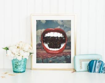 Lips Print, Lips Wall Art, Lips Poster, Mouth Print, Mouth Wall Art, Mouth Poster, Cactus Print, Cactus Wall Art, Cactus Poster, Space Print