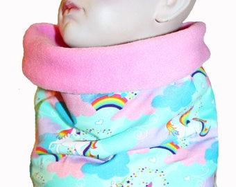 Girls scarf, infinity scarf, unicorns, rainbow