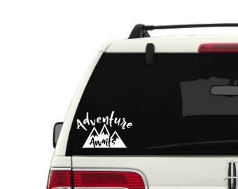 Adventure Awaits mountain with hand writing text - Car decal - Window decal - Laptop decal - Tablet  decal - Travel