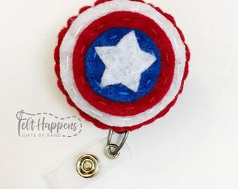 Captain America Badge Reel - Felt Superhero - Marvel Avengers - Handmade Felt Pin - ID Felt Badge Holder - Retractable - Gift By Hand