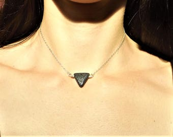 Lava Stone Diffuser Necklace - Triangle Lava Rock Choker - Essential Oil Jewelry - Aromatherapy Necklace - Sterling Silver