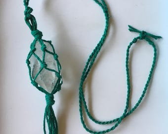 Crystal Quartz Point Hemp Macrame Necklace