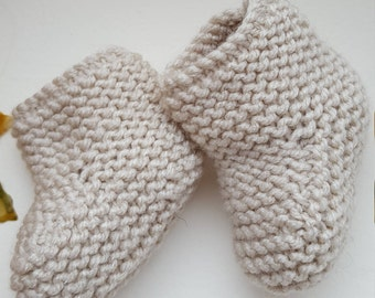Pair Beige Baby Bootees, Hand knitted, Beige Baby Wool, Handmade, Gift, Treat, Baby shower, Newborn, Feet warm, Finished item. Beige Bootees
