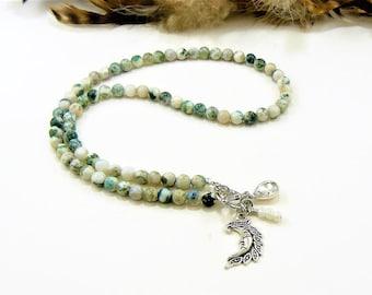 Silver Moon Necklace, Gemstone Necklace, Silver Moon Charm, Bohemian Necklace, Beaded Necklace, Charm Necklace, Necklace Choker, Necklace
