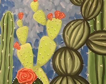 Bright Cacti Painting
