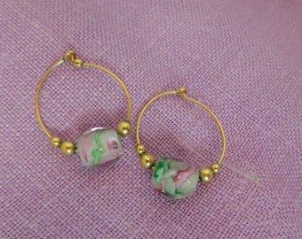 Vintage Gold Tone Hoop Earrings with Glass Bead