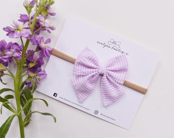 Pink Seersucker Bow | Easter Bows, Spring baby bows, baby headbands, newborn headbands, baby bow set, pink baby bow, girls easter outfit