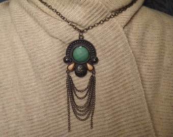 Coppery Bronze Charm features Green and Champagne Hued Fashion Stones with Chandelier Chains on Bronze Chain Gypsy Boho Hill Country Chic