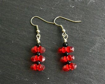 Handmade Wire Wrapped Red Earrings