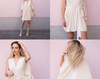 Creme color oversized dress, Convertible dress, Short dress, One size dress, Tunic dress, Loose fitting dress, Modern dress, Maternity dress