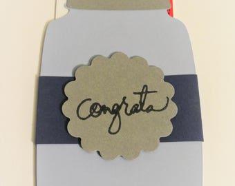 Gift Card Holder Congrats Light Blue and Navy Mason Jar