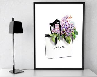 Coco Chanel Handbag print. Chanel bag poster. Lilac Flowers. Chanel wall art. Fashion Wall Art. Coco Chanel Watercolor Art Print. Lilac Art.