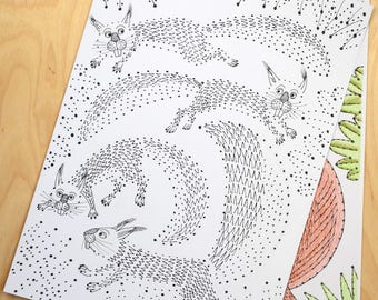 Red Squirrels jumping, a dot to dot and colouring sheet, tails, fur and leaves.