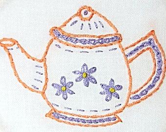 """Teapot Embroidery Hoop Art - Flowery Teapot Hand Embroidery - 4"""" Hand Embroidery Teapot Hoop Art - Kitchen Wall Art - Housewarming Gift"""