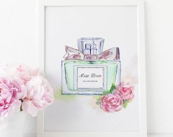Christian Dior, Dior, Miss Dior Print, Perfume Bottle, Bathroom Vanity, Perfume Print, Fashion Wall Art, Makeup Vanity Table, Vanity Mirror